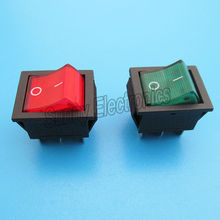 10pcs DPDT Red Green Indicator Light On-On Latching 6 Pins 2 Circuits Rocker Switch