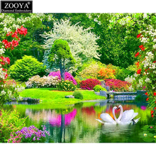 ZOOYA 5d diy diamond embroidery swan lake landscape diamond painting Cross stitch full square drill Rhinestone mosaic ZX