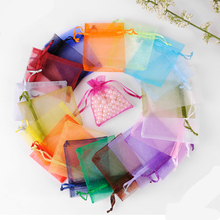 100pcs Jewelry Gift Bags 7x9cm Mixed Color Organza Bags Wedding Candy Christmas Packaging Pouches Nice colors Pick