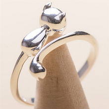 2017 New 1 Pcs Silver Plated Cat Rings For Women And Men Jewelry Beautiful Finger Open Rings For Party Birthday Gift(China)