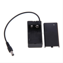 New Arrival 9V PP3 Battery Holder Box Case Wire Lead ON/OFF Switch Cover + DC 2.1mm Plug Free Shipping