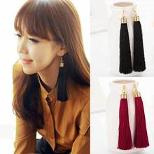 FAMSHIN 2017 New Hot Tassel Drop Earrings Black vintage tassel earrings long earring Big Dangle Female(China)