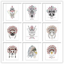 Animals Indian Head Hippie Fashion Deer Horse Zebra A4 Large Art Print Of Wall Poster Pictures Canvas Painting No Frame SZ83