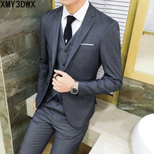 ( jacket + vest + pants )2017 Spring Men's Slim Fit Business Three-piece Suits Male groom Party dress /Man Wedding Blazers Sets(China)