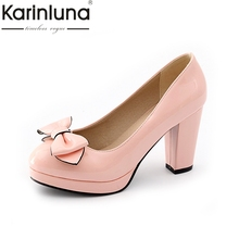Buy KARINLUNA Women's Chunky High Heels Sweet Bowtie Shoes Woman Slip Patent Upper Pumps Big Size 32-43 for $25.86 in AliExpress store