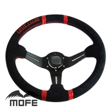 SPECIAL OFFER HOT SALE Original Logo Red Stitch Deep Dish Suede Leather 14 Inch  350mm Racing Car Steering Wheel