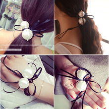 Big Pearls Ribbon Black Elastic Ponytail Holders Korean Style Super Cute Beauty Hair Accessories Girl Women Rubberbands Tie Gum(China)