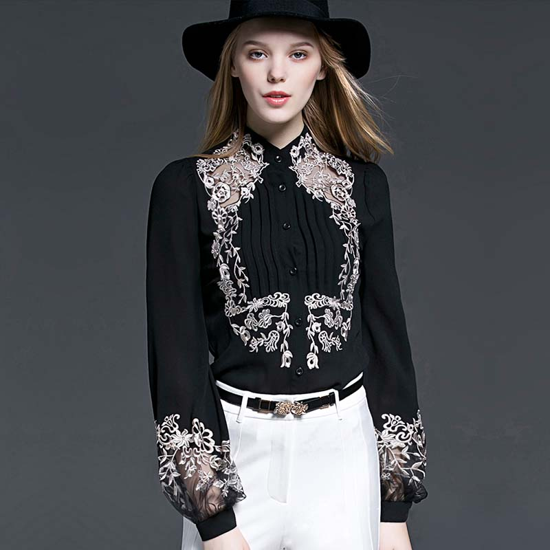 High-end Autumn Black Embroidery Cotton Shirt Women Blouses Blouse Femme Ete 2018 Casual Loose White Tops Camisas Mujer