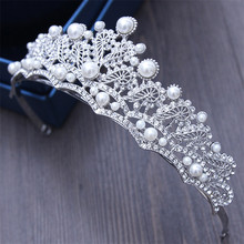 Fashion New Sparkling Pearl Bridal Wedding Tiara Crown Bride Headdress Women Pageant Prom Queen Crown King Hair Decorations
