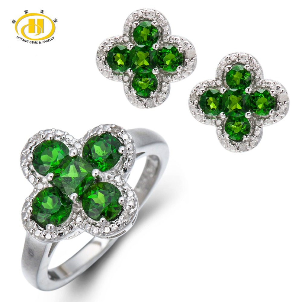 Hutang Stone Jewelry Natural Chrome Diopside White Diamond Solid 925 Sterling Silver Jewelry Sets Flower Ring Earrings Fine Gift
