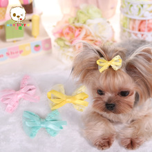 Newest Dog Accessories Cotton yarn bowknot dog small hairpin Poodle Hair Accessories bobby pin for dogs and pet. PY362