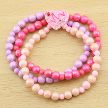 Wholesale Fancy Bead Baby Infant Elastic Bracelet Jewelry,Charming Heart Cake Bracelets For Girl Kids,Children Accessory,HJ3072