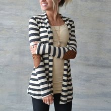 New Fashion 2017 Autumn Outerwear Women Long Sleeve Striped Printed Cardigan Casual Elbow Patchwork Knitted Sweater Plus Size(China)