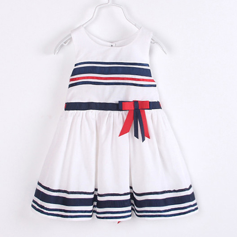 Korean Summer Cute Navy Red White Stripes Children Girls Preppy Dress With Bow Free Shipping<br><br>Aliexpress