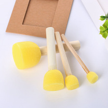 4Pcs Kids Sponge Paint Brush Original Wooden Handle Painting Graffiti Early Toys