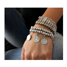 2016 new Party Hippy Boho Pop Dangle Antique Silver Plated Coin Chunky Bohemia Carved Coin Bracelets Bangle(China)