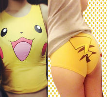 Pokemon Center pikachu underpants + Top Vest Sexy Cute Knickers Pants Underwear(China)