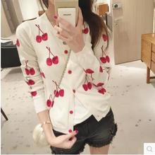 Free shipping 2017 Women new fall wild round neck long-sleeve knit cardigan womens cherry pattern(China)