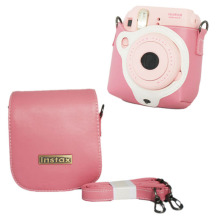 For Fuji Fujifilm Instax Mini 8 Instant Photo Camera Pink Leather Camera Shoulder Strap Bag Case Cover Pouch Protector