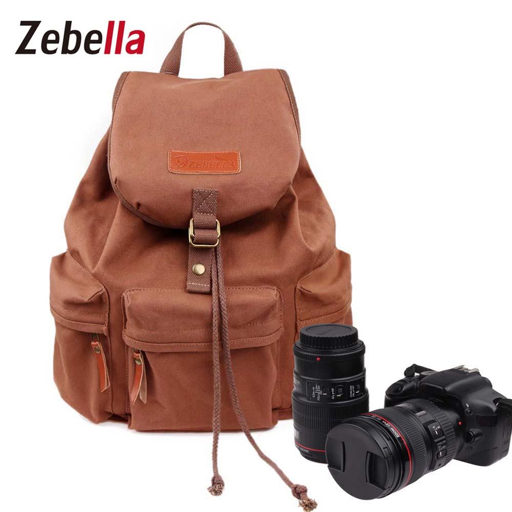 Vintage Women Camera Backpack Waterproof Canvas DSLR Camera Bag &amp;Inner Bag for Canon Nikon dslr Casual Travel Bags For Female <br>