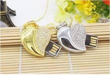 Usb Stick USB Flash Drive 4GB-32GB Jewelry Crystal Heart of Love Diamond  USB Flash 2.0 Memory Drive Stick S21pendrive