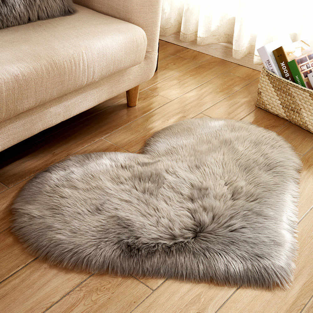 Wool Imitation Sheepskin Rugs Faux Fur Non Slip Bedroom Shaggy Carpet Living Room Mats Tapis round
