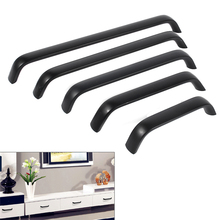 96/128/160/192/224 mm Kitchen Cabinet Knob Door Handle Matt Black Cupboard Wardrobe Shoebox Closet Drawer Pull Hardware Home DIY