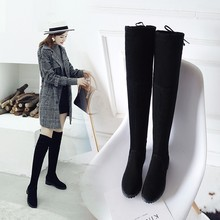허벅지 (High) 저 (부츠 암 겨울 Boots Women 넘 다 니 Boots 평 Stretch Sexy Fashion Shoes Black XL34--41 탄 boots(China)