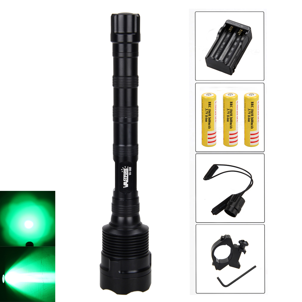 Bright 5000lm 3x R5 Green/RED LED Flashlight Torch Power by 3X18650 Light with Charger and Remote Switch<br>