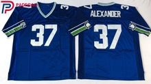 Embroidered Logo Shaun Alexander 37 throwback high school FOOTBALL JERSEY for blue fans gift cheap 1105-4(China)