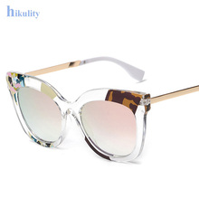 Famous Italy Designer Women Sunglasses Oversize Crystal Cat Eye Sun Glasses Big Frame Clear Sunglasses Female 2016 New Shades