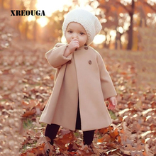 Kids Girls Woolen Blend Cape O-Neck Solid Long-Sleeved Baby Wool Cloak Infant ponchos and cape Children Clothing ZZX01(China)