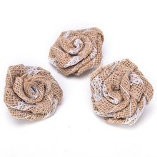 Artificial Roses Vintage Handmade Burlap Flower Burlap Hessian Jute Flower Wedding Party Home Decoration Ornaments Supply
