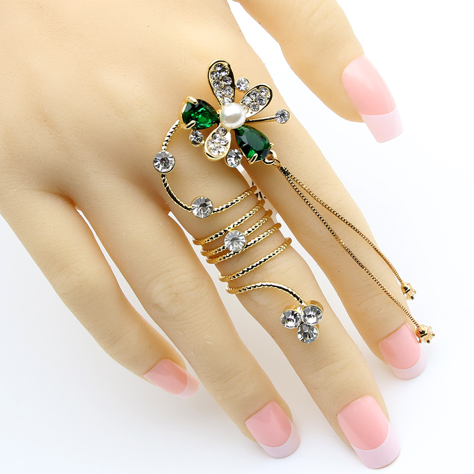Gorgeous Brand Design Bridal Blower Ring Women Crystal Tassels Jewelry Spring Rings Imitation Pearl Wedding Banquet Ring Anillo