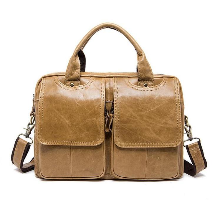 Genuine leather Handbag Laptop Men's Crossbody bags Cowhide Men's single shoulder bag