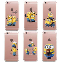 Funny Cartoon Despicable Me Yellow Minions design Cases For iphone 6 6s 6Plus 5 5s se 7 plus Case Hard plastic Transparent Cover