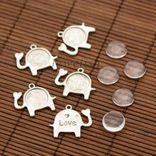Zinc Alloy Pendant Cabochon Settings, Elephant and Transparent Flat Round Glass Cabochons, Lead Free, Antique Silver, Tray: