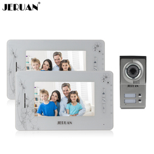 JERUAN 7`` video doorphone intercom system  video door phone speaker doorbell 2 monitor 1 outdoor video recording photo taking