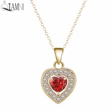 QIAMNI Beautiful Sweet Elegant Love Heart Red Zircon Pendant Choker Clavicle Necklace Party Gift for Girls Women Wedding Jewelry