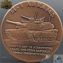 America Land Force ABRAMS M-1 Tank Commemorative Coins Vintage Style With Round Box USA Military Weapon M1 Brass Coin 40mm
