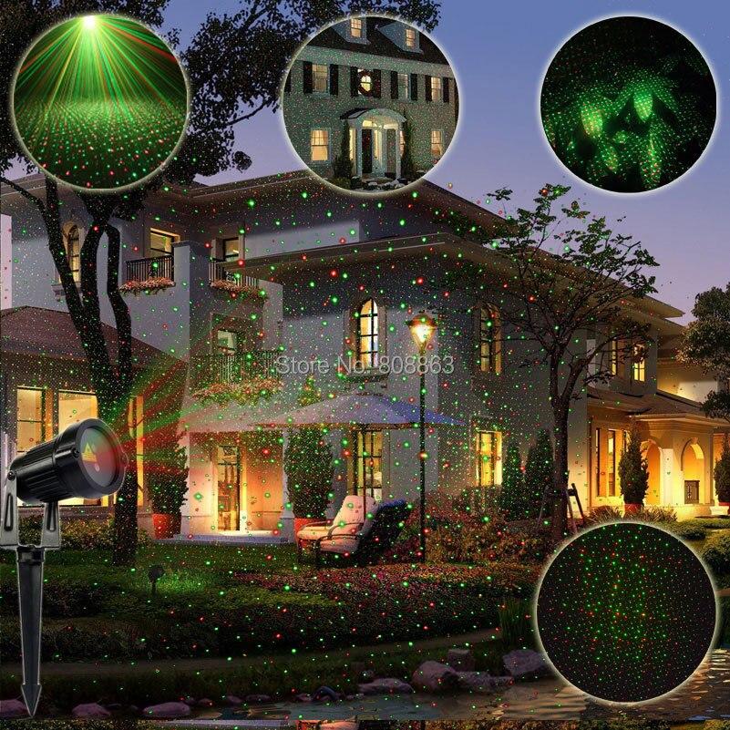 ESHINY Mini Outdoor IP65 R&amp;G Laser Static Full Stars Projector Bar Xmas Lawn House Party Tree DJ Garden Effect Light Show MD01<br>