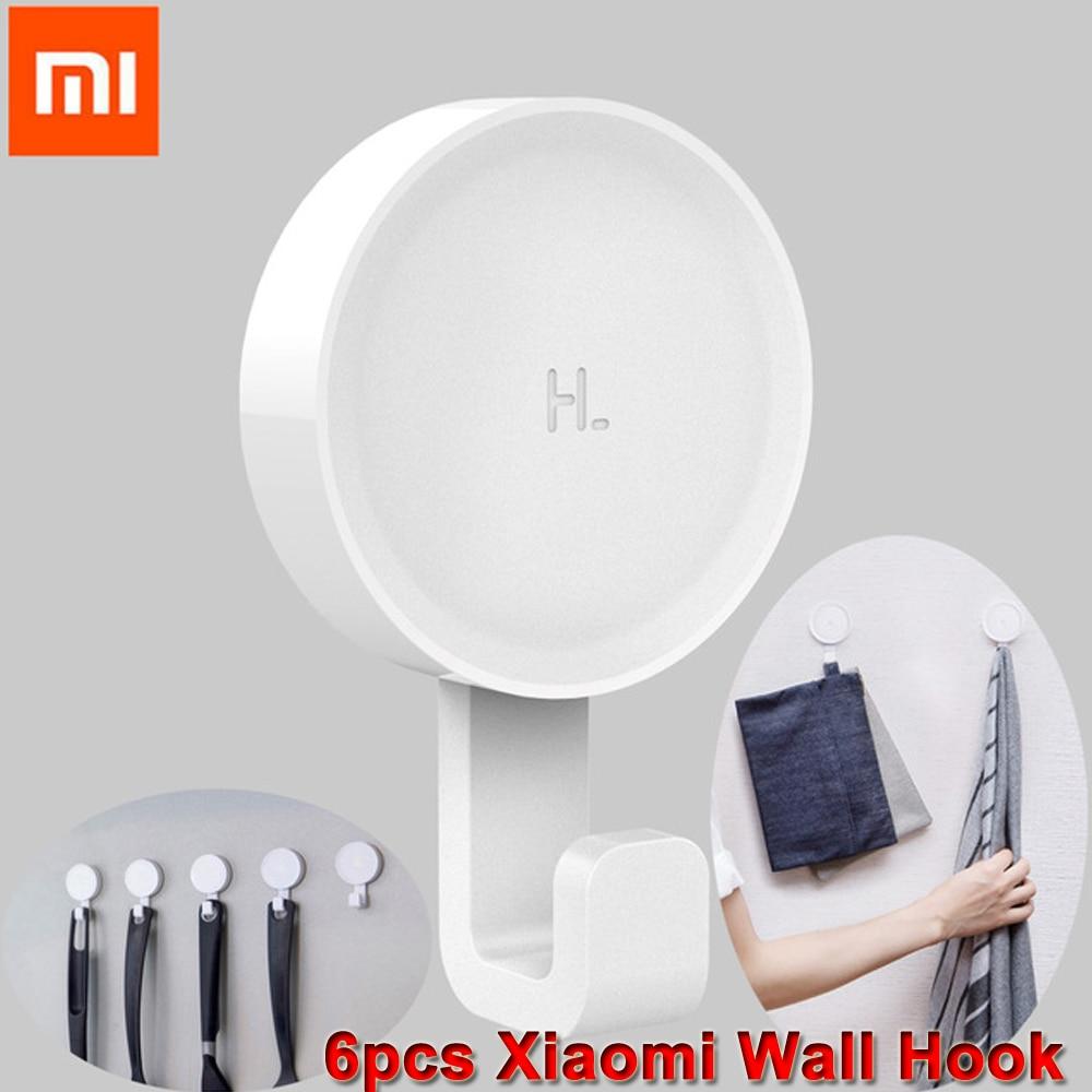 6pcs Original Xiaomi HL Wall Adhesive Life Hook Wall Mounted Mop Hook Bedroom Kitchen Wall Holder 3kg max load 3M Glue