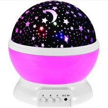 Romantic Led Night Lamp Rotating Starry Star Moon Sky Rotation Night Lighting Projector Lamp Kids Children Baby Sleeping Lights(China)