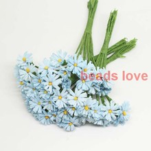 Sale!!! 1.5cm head Blue handmade Mulberry Paper Daisy Flower artificial sunflowers(100pcs/lot) Pick color(w03282)(China)