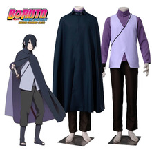 Boruto: Naruto the Movie Uchiha Sasuke Cosplay Costume Father Sasuke Costume Purple Ninja Costume Black Cloak Halloween Costumes