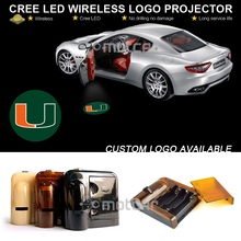 Car Door Step Courtesy Welcome Light Projector Laser Miami Hurricanes GOBO Logo Light Ghost Shadow Puddle Emblem LED Spotlight(China)