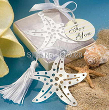 Free Shipping 24pcs/lot Wedding Favor Gifts Collection Silver Starfish Bookmarks Metal Favors with White Tassel Baby Shower Gift