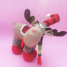 English Style Plush Fabric XMAS Deer Christmas Figurine Window Ornaments Decorations for Home Christmas Gifts 2015 for Childrens
