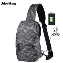 Boshikang Fashion Sling Bag Usb Charge Crossbody Bags Men Candy Color Women  Chest Pack Large Capacity Messenger Bag For Unisex 4bb889dec3