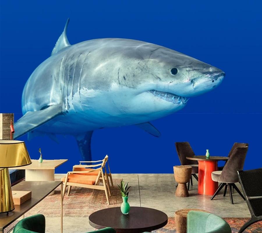 Custom murals,Sharks Animals wallpapers papel de parede, hotel bar living room sofa TV background kids room 3d wallpaper<br>